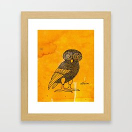 ATHENA'S OWL IN TEA & COFFEE BACKGROUND  Framed Art Print