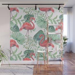 Pink flamingos. Wall Mural