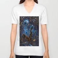 nebula V-neck T-shirts featuring Nebula by Saundra Myles