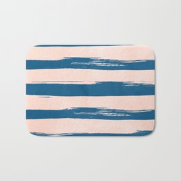 Trendy Stripes - Sweet Peach Coral on Saltwater Taffy Teal Bath Mat