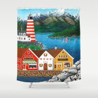 puffin Shower Curtains featuring Puffin Point by Kirbeekatz
