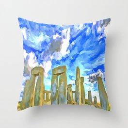 Stonehenge Pop Art Style Throw Pillow