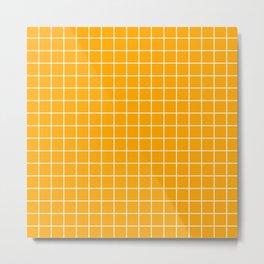 Chrome yellow - orange color - White Lines Grid Pattern Metal Print