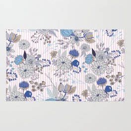 Abstract rustic navy blue gray floral pink stripes pattern Rug