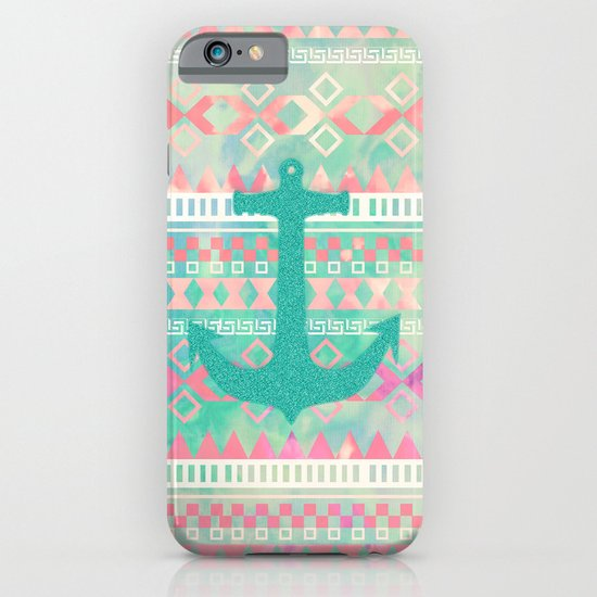 Sailing Aztec | Emerald Nautical Anchor Pastel Watercolor Aztec iPhone & iPod Case