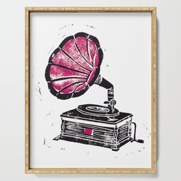 Linocut Gramophone Serving Tray