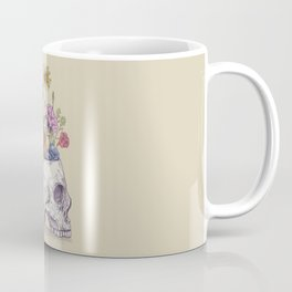 Half Skull Flowers Coffee Mug