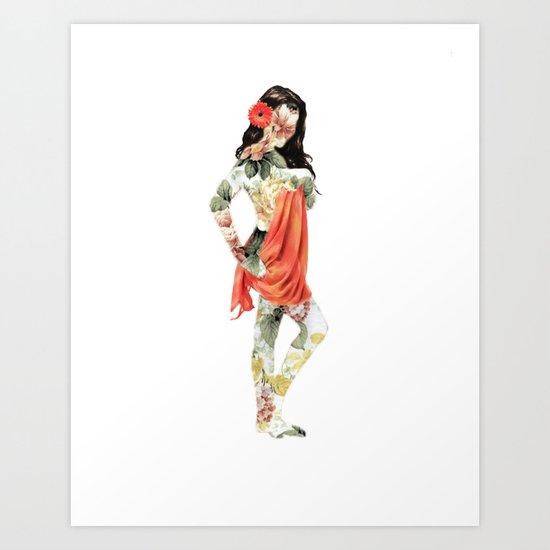 Floral Pin Up Girl Art Print