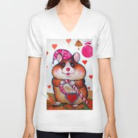 hamster V-neck T-shirts featuring HAMSTER by oxana zaika