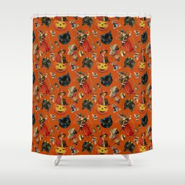 Vintage Black Cat Halloween Toss in Pumpkin Spice Shower Curtain