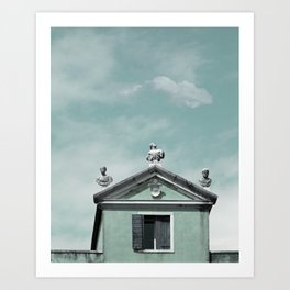 Mint Building on Aqua with Clouds and Sculptures Art Print