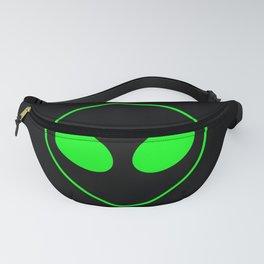 Bright Neon Green Alien Head on Black Fanny Pack