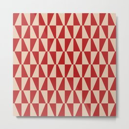 Mid Century Modern Geometric 315 Red and Beige Metal Print