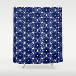 Shibori Stars (white and dark blue) Shower Curtain