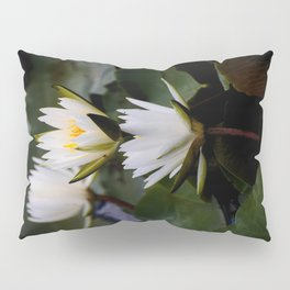 White Lily Flowers In A Pond With Green Lily Pads Pillow Sham