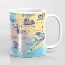 New York City Fine Art Print Retro Vintage Favorite Map with Touristic Highlights Coffee Mug