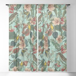 FLORAL AND BIRDS XIII Sheer Curtain