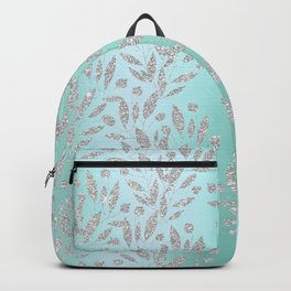 Elegant neo mint glam silver glitter gradient floral Backpack