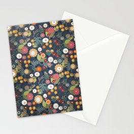 Colorful flowers on a denim background. Stationery Cards