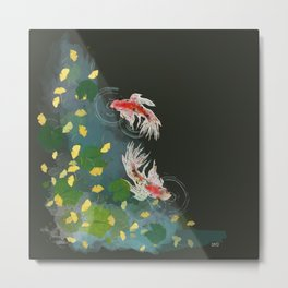 Ginkgo Pond Metal Print