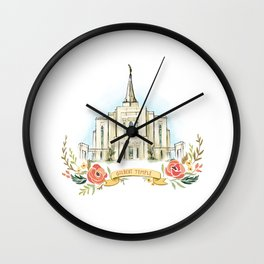 Gilbert Arizona LDS watercolor Temple with flower wreath  Wall Clock