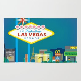 Las Vegas, Nevada - Skyline Illustration by Loose Petals Rug