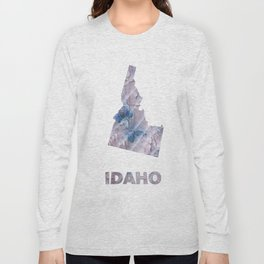 Idaho map outline Dark gray stained watercolor pattern Long Sleeve T-shirt