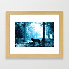 Black Wolf Alone in the Forest Framed Art Print