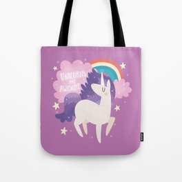 Unicorns Are Awesome With Clouds and Rainbow Tote Bag