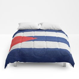 Flag of Cuba, grungy retro version Comforters