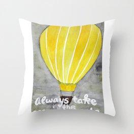 Yellow hot air balloon Throw Pillow