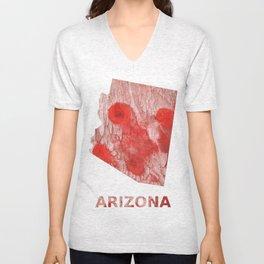 Arizona map outline Red Pink streaked wash drawing Unisex V-Neck