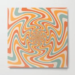 Retro Swirl 70s Metal Print