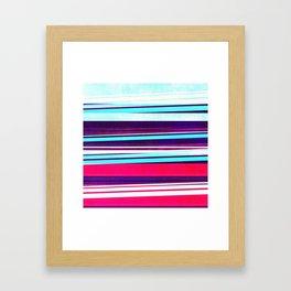 teal & red strips  Framed Art Print