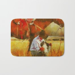 Cowgirl In A Fall Field Bath Mat