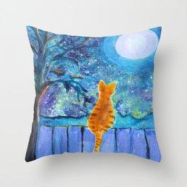 Cat in the Moonlight Throw Pillow