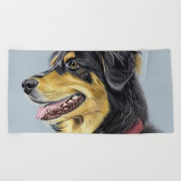 Dog Portrait 01 Beach Towel