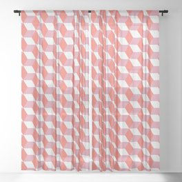 Cubes with Doorway Pattern ~ coral red Sheer Curtain