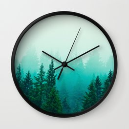 Fog Foggy Samish Forest Woods Mountain Northwest Washington Landscape Wall Clock