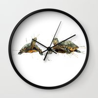 turtles Wall Clocks featuring Turtles by Nicola Girello