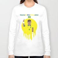 neymar Long Sleeve T-shirts featuring Neymar Brazil Illustration Print by Gary  Ralphs Illustrations