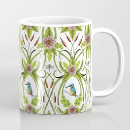 Common Kingfisher, Water Lilies, Dragonflies & Cattails Pattern Coffee Mug