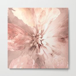 Floral Coral Abstract Flower Design Metal Print