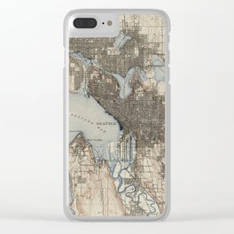 Vintage Map of Seattle Washington (1908) Clear iPhone Case