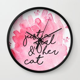 Just a Girl & her Cat // Black+Pink // Watercolor Paws Wall Clock