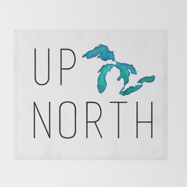UP NORTH with watercolor great lakes Throw Blanket