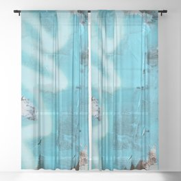 Storms and Tides: an abstract mixed-media piece in blue black and white by Alyssa Hamilton Art Sheer Curtain