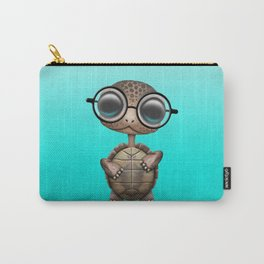 Cute Nerdy Turtle Wearing Glasses Carry-All Pouch