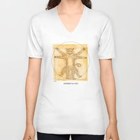 da vinci V-neck T-shirts featuring Leopardo da Vinci by Nanu Illustration