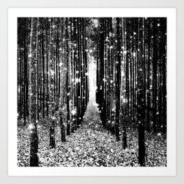 Magical Forest Black White Gray Kunstdrucke